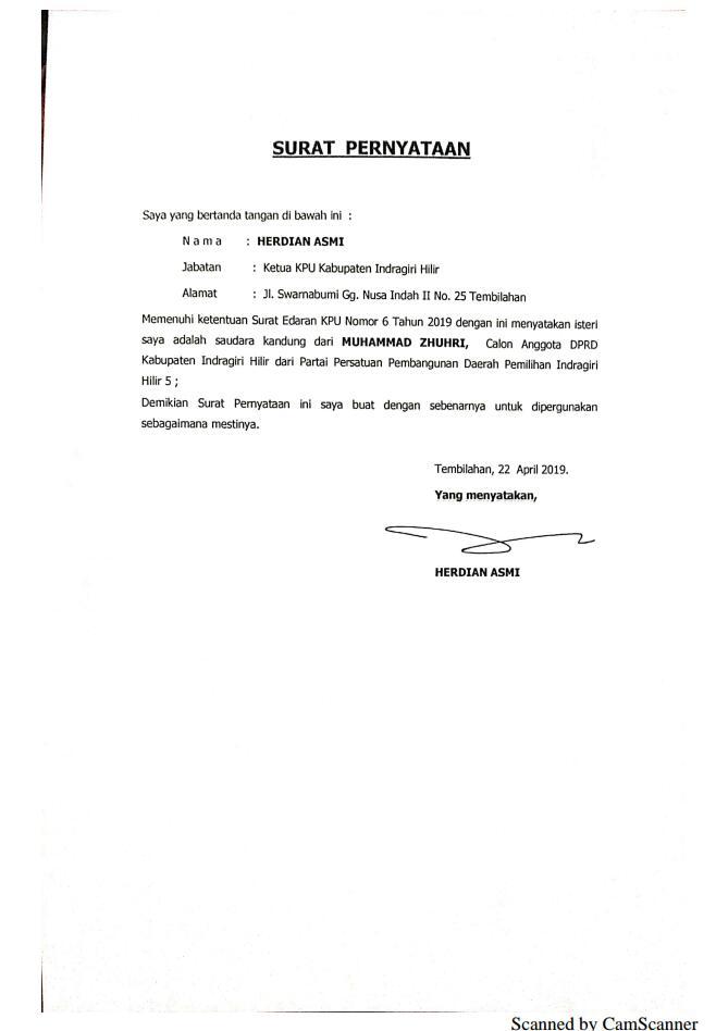 Menjaga Netralitas Pemilu Ketua Kpu Inhil Buat Surat Pernyataan